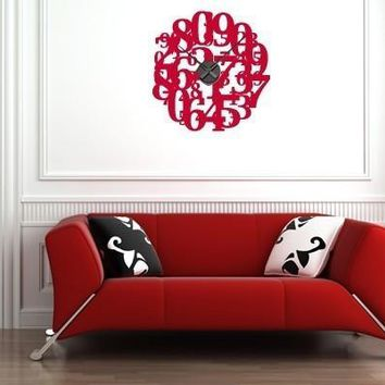 Crazy Numbers Wall Decal Clock