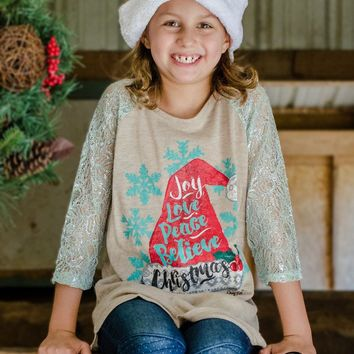 Kids Joy, Love, Peace, Believe, Christmas with Mint Lace Sleeves