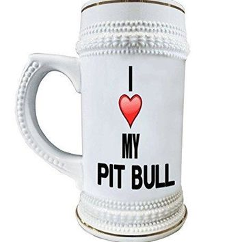 I Love My Pit Bull 22 oz. Ceramic Beer Stain Glass Mugs with Decorative Gold Trim