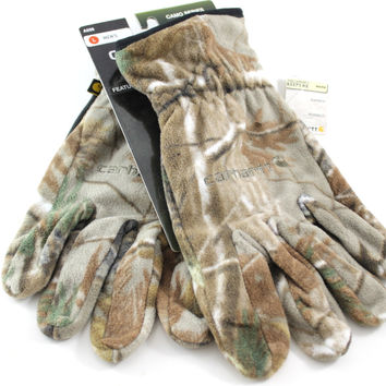 Carhartt USA Hunter Men's Camo Green/Brown Fleece Grip Hunting Gloves