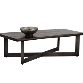 MARLA SOLID ACACIA WOOD WITH WALNUT BROWN FINISH RECTANGULAR COFFEE TABLE
