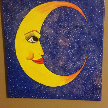 Soft Moon & Night Sky Galaxy Canvas Painting