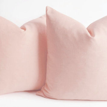 NEW - Cotton Canvas Pillow Cover  Pink - pink pillow - cotton pillow cover - decorative  pillow - euro shams - lumbar 16 18 20 22 24 26 28