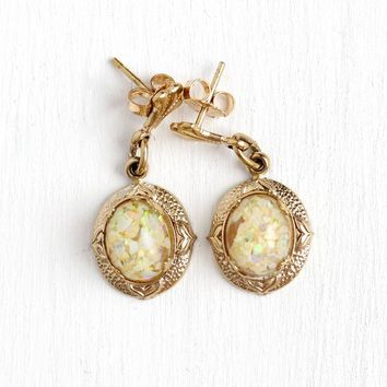 Floating Opal Earrings - Vintage 14k Yellow Gold Filled Gem Drops - Retro Mid Century 1960s Colorful Genuine Gemstone Chips Pierced Jewelry