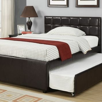 Poundex F9215F Espresso tufted faux leather full size bed with twin size trundle bed, slat kits included