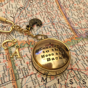Compass Keychain I love you to the moon and back