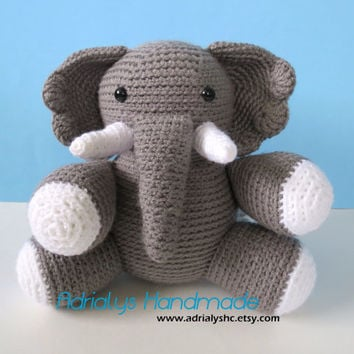 Crocheted Grey Elephant-Amigurumi-OOAK- Ready to Ship