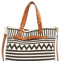 Sole Society Print Tote - Black
