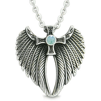 Angel Wings Celtic Viking Cross Magic Powers Amulet Green Quartz Pendant 18 inch Necklace