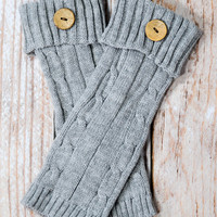 Grey Cable Knit Leg Warmers with Button