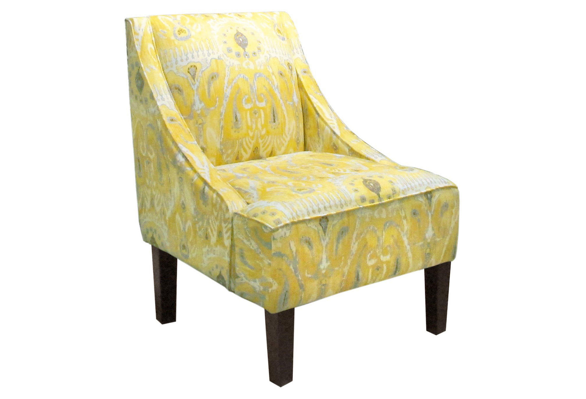 Fletcher Swoop Arm Chair Yellow Ikat From One Kings Lane