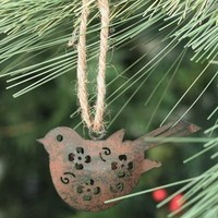 Green Rust Small Bird Metal Christmas Tree Ornaments, Set of 6 - Seasonal & Holiday Decorations