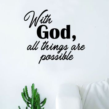 With God v2 Quote Wall Decal Sticker Bedroom Room Art Vinyl Home Decor Inspirational Religious Jesus Love