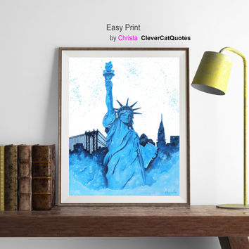 New York skyline print, Statue of liberty, NC printable, Wall art, US ART, New York city, Painting, Blue statue, Instant download, Art
