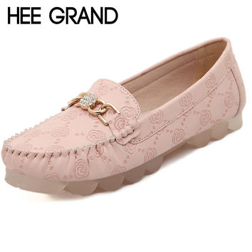 Rose Print Women Loafers Flat With Rhinestone Casual Spring Plus Size 34-42 DWD2627