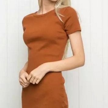 Thread cotton short-sleeved round neck dress