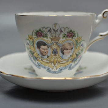 Lady Diana & Prince Charles Regency Fine Bone China teacup and saucer, commemorative royal wedding porcelain