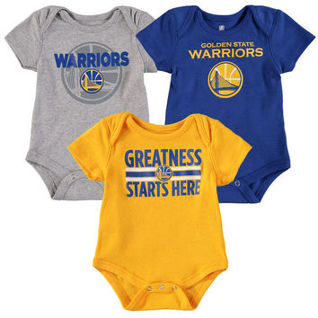 Newborn & Infant Golden State Warriors Royal/Gold/Gray Three-Pack Bodysuit Set