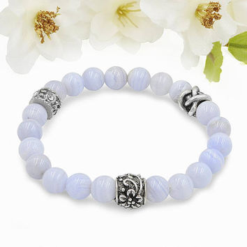 Natural Gemstone Blue Lace Agate Bead  Bracelet Brass Spacers Charm