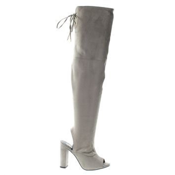 Truffle Taupe By Delicious, Women's OTK Over Knee Peep Toe, Open Heel & Corset Lace Tie Back