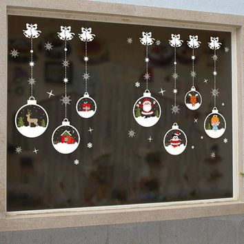 Christmas Santa Claus Snowmen Elk Wall Stickers Window decor New Year Window Glass PVC Wall Sticker Christmas DIY Home Decal