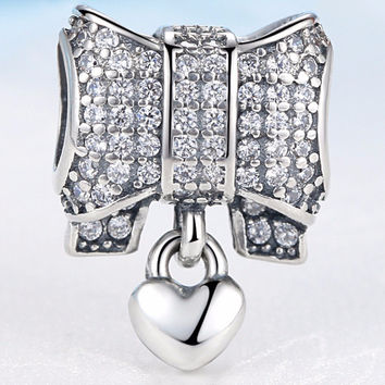 Authentic 925 Sterling Silver Charm Heart & Bow Crystal Beads Fit Pandora Bracelets