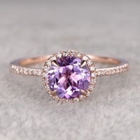 Natural 7mm Round Cut Amethyst Engagement Ring Diamond Wedding Ring 14k Rose Gold Halo Prong Set