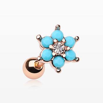 Rose Gold Turquoise Spring Flower Sparkle Cartilage Tragus Earring