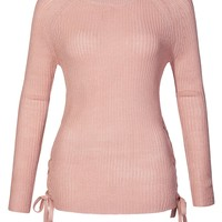 LE3NO Womens Casual Round Neck Lace Up Side Soft Knit Pullover Sweater Top