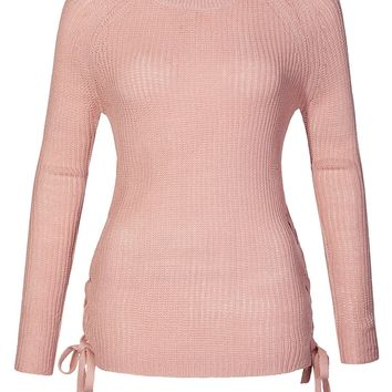 Casual Round Neck Lace Up Side Soft Knit Pullover Sweater Top