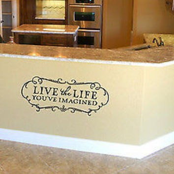 WALL VINYL STICKER  DECAL  MURAL LIVE LIFE YOU HAVE IMAGINED CUTE DESIGN  A678