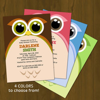 Owl BABY SHOWER invitation - Zoomed Owl Baby Shower Printable Invitation - brown, pink, light blue or green