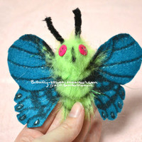 HOLIDAY SALE Moth Hair Clip Bright Green Barrette Glows in the Dark