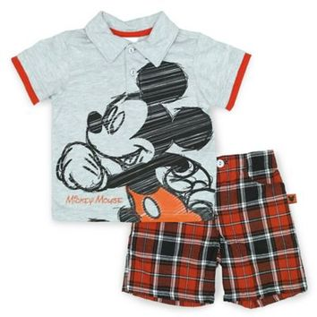 Disney® Mickey Mouse 2-Piece Polo and Short Set in Grey/Red