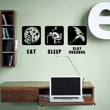 Eat Sleep Slay Dragons Gaming Geek Nerd Gigaflops Dragons Pizza Stickers Wall Decals Home Decor Wall Stickers Decor Nursery Sticker tr181