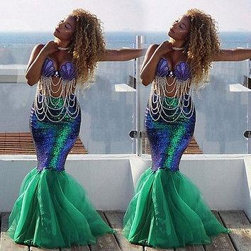 5eff200c2baf Sexy Women Mermaid Costume Skirt Fancy Party Cocktail Sequins Ma