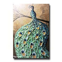 CUSTOM Abstract Painting Peacock Textured Contemporary Art Blue Green Gold MADE to ORDER