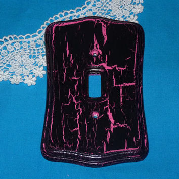 Decorative Wood Light Switch Cover Plate Pink by EssenceOfTheSouth