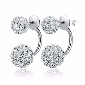 Double Sided Synthetic Crystal Ball Stud Earrings