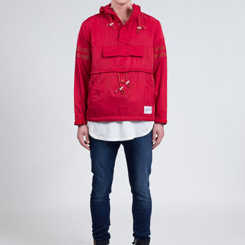 Kangaroo Pouch Pullover Windbreaker in Red