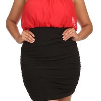 Beaded Cutout Halter Mini Dress - Red - Plus Size