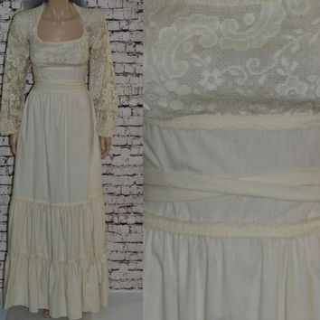 70s Peasant Dress Ivory Natural Cotton M L Lace Wedding Maxi Prairie Revival Long Sleeves White Boho HIppie 60s Hipster Pastel Goth Pirate