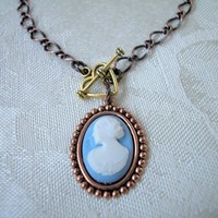 Cameo Necklace Wedgwood Blue Lady On Antique Copper Chain Toggle Clasp