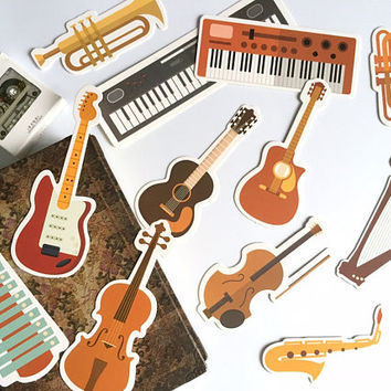 30 music Instrument embellishment paper cards music theme illustrations music notes Guitar Violin paper card mixed media art paper gift