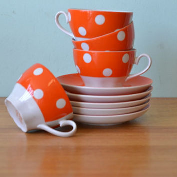Retro orange polka dot tea cups & saucers RPR soviet Russian