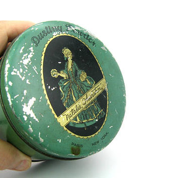 Art Deco Tin Box Round Boudoir Dusting Powder or Trinket Holder Vanity Dressing Table Shabby Chic Vintage 1920s Green Storage Container