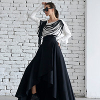 Maxi Black Skirt/Asymmetric Loose Skirt/Long Skirt/Elegant Evening Skirt/Classic Modern Black Skirt/Oversize Maxi Skirt/High Waist Skirt