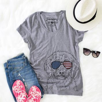 Teddy the Labradoodle - American Flag Aviators - Women's Relaxed Fit V-neck Shirt