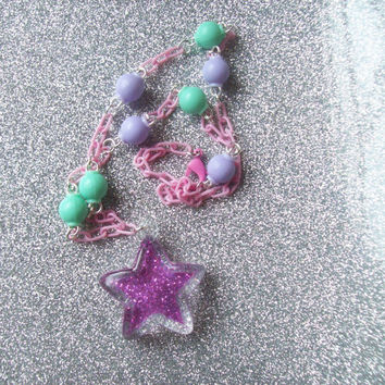Pastel Fairy Kei Glitter Star Necklace