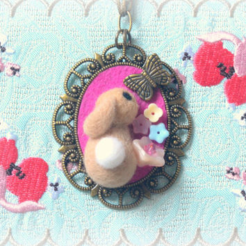 Needle felted bunny with butterfly necklace, handmade beige rabbit pendant necklace, lolita jewelry, whimsical jewelry, gift under 25